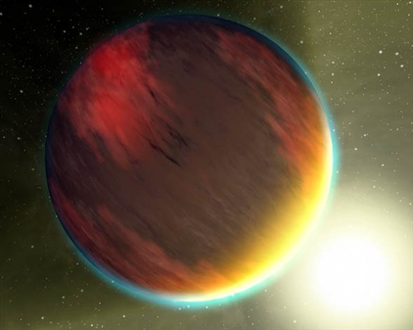 "This artist's concept shows a cloudy Jupiter-like planet that orbits very close to its fiery hot star. NASA's Spitzer Space Telescope was recently used to capture spectra, or molecular fingerprints, of two ""hot Jupiter"" worlds like the one depicted here. This is the first time a spectrum has ever been obtained for an exoplanet, or a planet beyond our solar system. The ground-breaking observations were made with Spitzer's spectrograph, which pries apart infrared light into its basic wavelengths, revealing the ""fingerprints"" of molecules imprinted inside. Spitzer studied two planets, HD 209458b and HD 189733b, both of which were found, surprisingly, to have no water in the tops of their atmospheres. The results suggest that the hot planets are socked in with dry, high clouds, which are obscuring water that lies underneath. In addition, HD209458b showed hints of silicates, suggesting that the high clouds on that planet contain very fine sand-like particles. Capturing the spectra from the two hot-Jupiter planets was no easy feat. The planets cannot be distinguished from their stars and instead appear to telescopes as single blurs of light. One way to get around this is through what is known as the secondary eclipse technique. In this method, changes in the total light from a so-called transiting planet system are measured as a planet is eclipsed by its star, vanishing from our Earthly point of view. The dip in observed light can then be attributed to the planet alone.  This technique, first used by Spitzer in 2005 to directly detect the light from an exoplanet, currently only works at infrared wavelengths, where the differences in brightness between the planet and star are less, and the planet's light is easier to pick out. For example, if the experiment had been done in visible light, the star is so much brighter than the planet that the total light from the system would appear to be unchanged, even as the planet disappeared from view. To capture spectra of the pla"