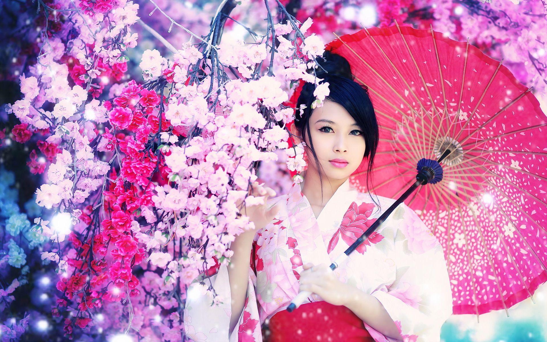 wallpaper geisha corals girl - photo #26