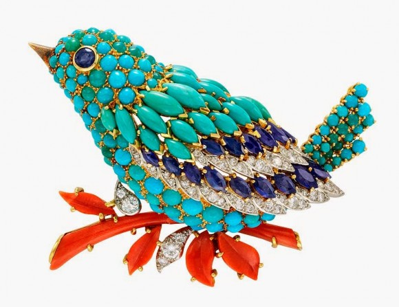 colourful-Van-Cleef-Arpels-bird-clip-in-platinum-and-yellow-gold-set-with-sapphires-turquoise-coral-and-diamonds-created-in-1963