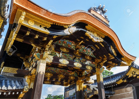Nijo Castle in Kyoto, Japan KYOTO, JAPAN - OCTOBER 23: Nijo Castle  in Kyoto, Japan on October 23, 2014. A flatland castle, one of the seventeen assets of Historic Monuments of Ancient Kyoto which is designated by UNESCO as a World Heritage Site