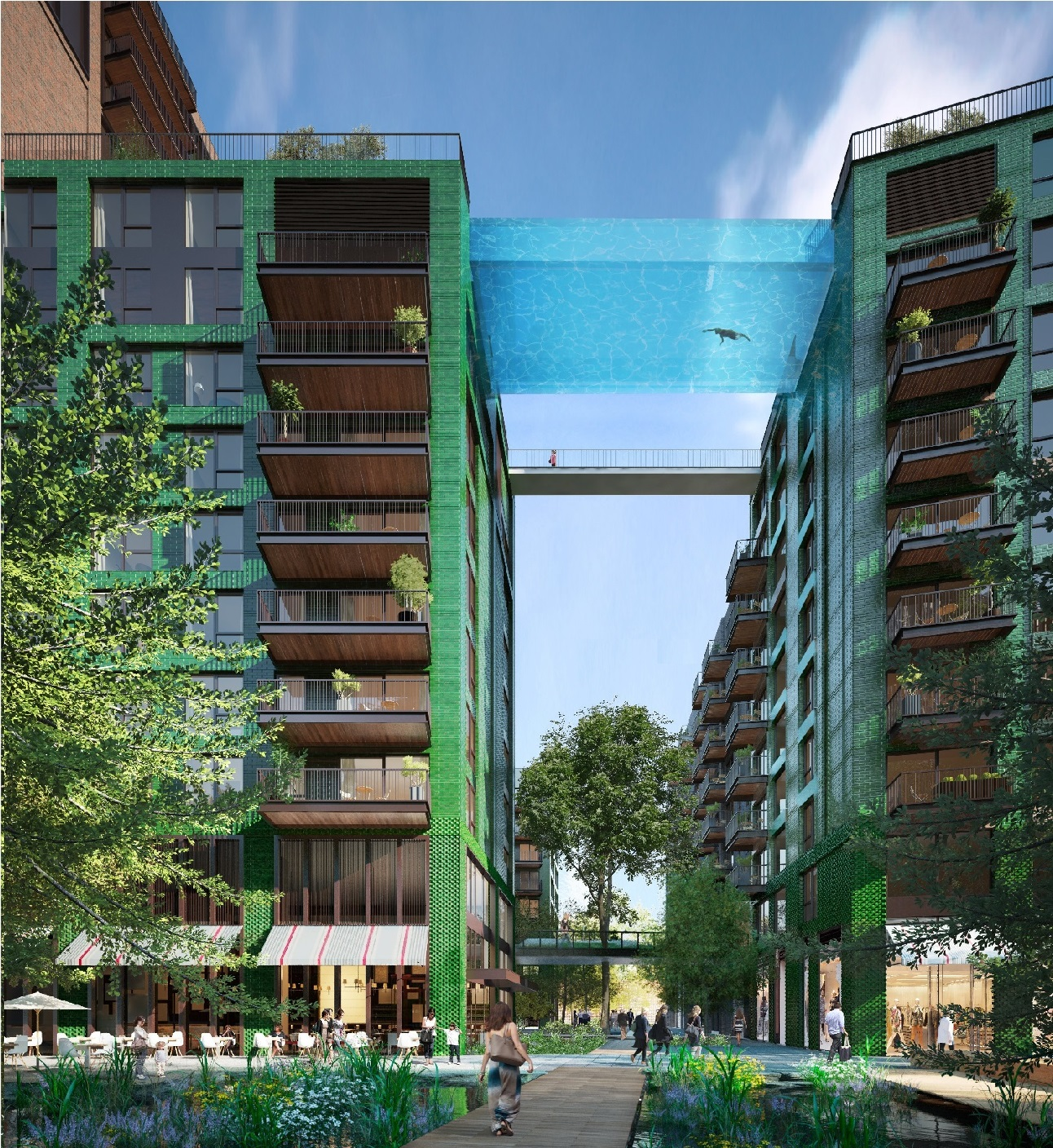 City officials have given developers permission to build a transparent aquarium-like swimming pool hanging 10 stories above the ground.