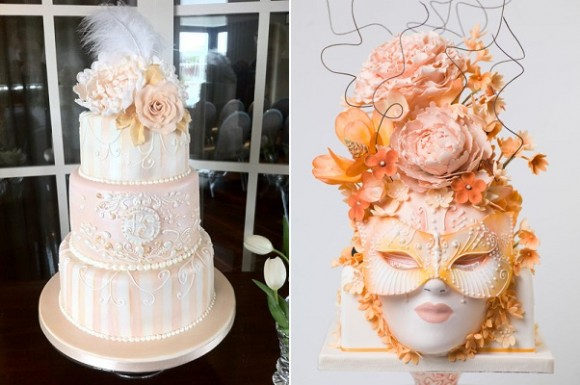 Marie Antoinette cakes by The Brighton Cake Company right and via Pinterest left