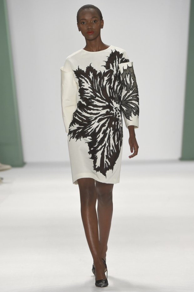 A model on the runway at Carolina Herrera's spring 2015 show at The Theatre at Lincoln Center. Pictured: Model Ref: SPL839851 080914 Picture by: Splash News Splash News and Pictures Los Angeles: 310-821-2666 New York: 212-619-2666 London: 870-934-2666 photodesk@splashnews.com