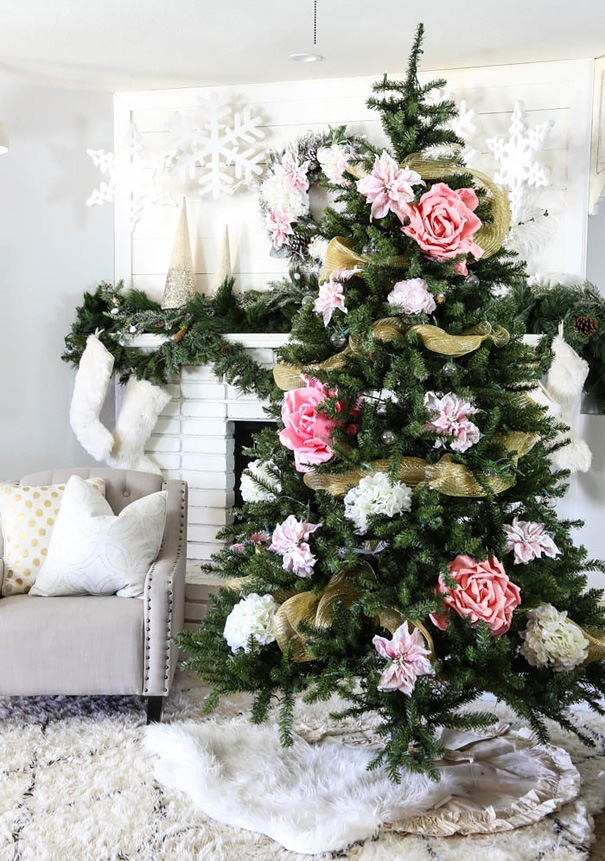 floral-christmas-tree-decorating-ideas-30-605
