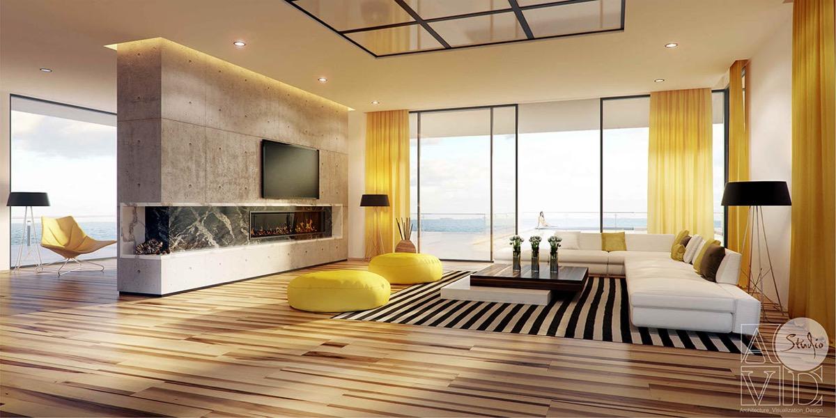 Дневни соби со жолти детали Divian Arts
