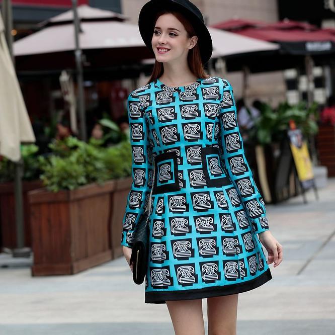 European-New-Spring-Dress-2016-Fashion-Women-Twill-Print-Pocket-Patch-font-b-Design-b-font