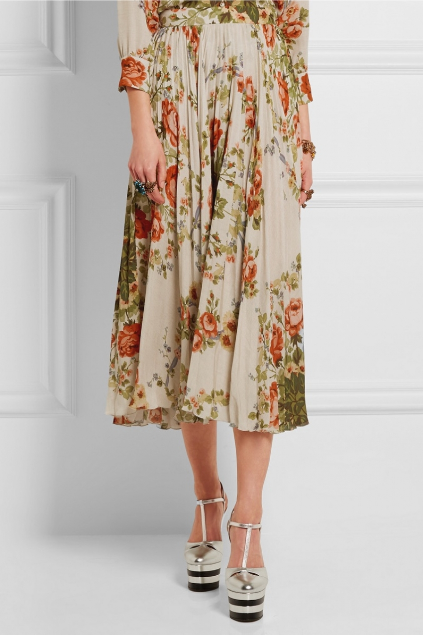 gucci-floral-print-silk-pleated-skirt