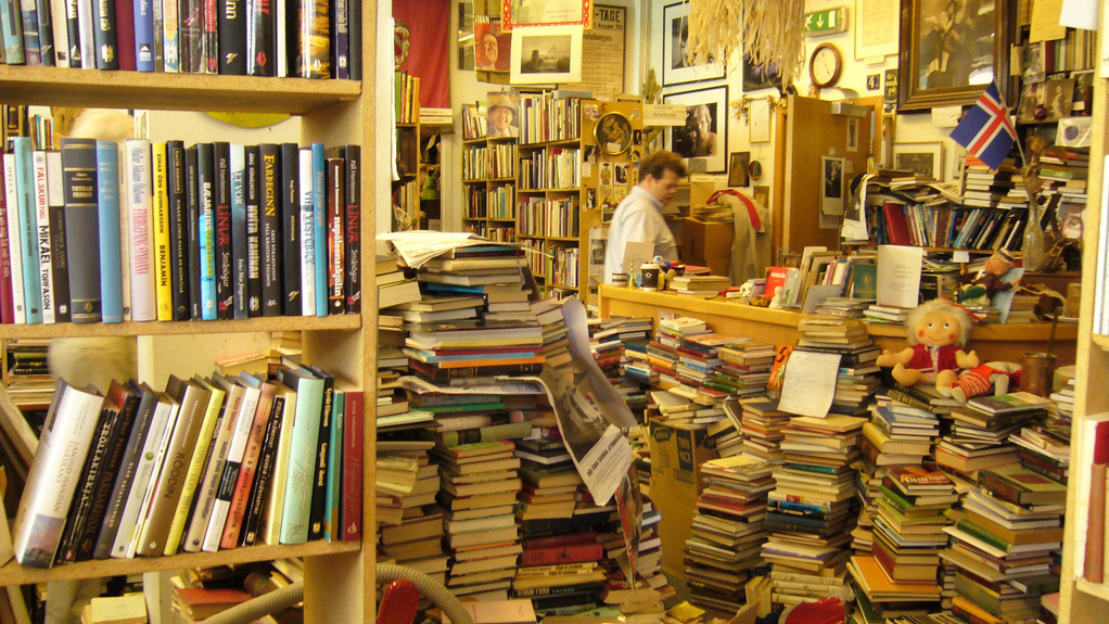A second-hand bookstore is seen in Reykjavik, Iceland.
